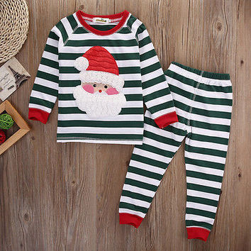 Christmas Pajama Sets !! Newborn Toddler Kids Baby Boys Girls Outfits Clothes T-shirt Tops+Pants 2PCS Set