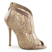 "Amuse 48 Cream Lace Single Sole Sandal Booties - 5"" Heels"