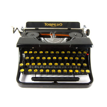 1930's - Torpedo Model 15a Portable Typewriter - Rare - Includes Case - Working and Cleaned - QWERTY