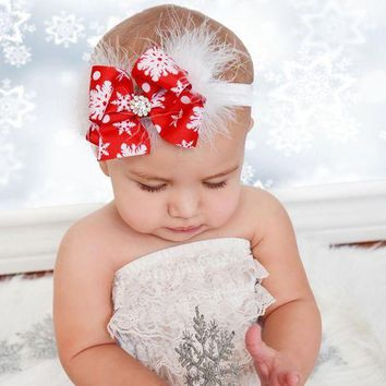 ESB1ON Cute Christmas Red Bow Feather Headband Snow Flower Girls Hair Accessories Headwear Photography props