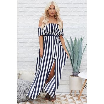 Summer Ready Striped Maxi Dress (Navy/White)