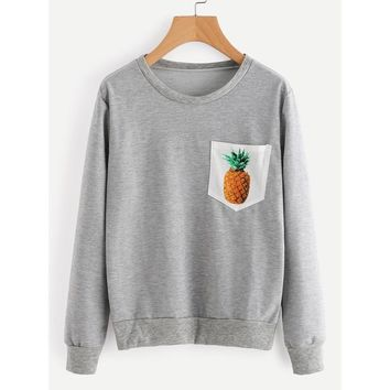 Tops Women's Fashion Round-neck With Pocket Long Sleeve Hoodies [109540311069]