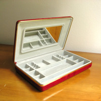Vintage Travel Jewelry Case, Mid Century, Large, Maroon Red, Velvet, Storage Compartments, Mad Men Style