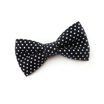 Mens bow tie black and white polka dot - cotton bowties pin dots - womens clip on bow tie - mans clipon bowties dotted - retro bow tie