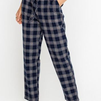 Plaid Tapered Drawstring Trousers