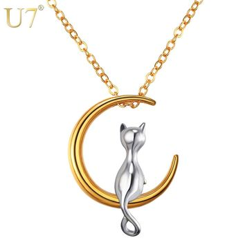 U7 Moon Meditation Cat Necklace Silver & Gold Color Stainless Steel Crescent Pendant & Chain 2017 Hot Jewelry Women Gift P1031