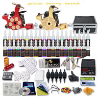 Tattoo Kit 2 Machine Gun 40 Color ink Tip Power Supply SetGrips YBB1