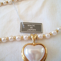 Vintage Pearl Heart Necklace Japan