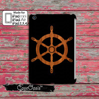 Wooden Sailboat Steering Wheel Wood Ship Hull Cool Tumblr Inspired Custom iPad Mini and iPad 2,3,4 and iPad air case