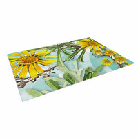 "Liz Perez ""Sunny Day"" Yellow Floral Indoor / Outdoor Floor Mat"
