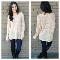 Blush Pink Distressed Knit Sweater