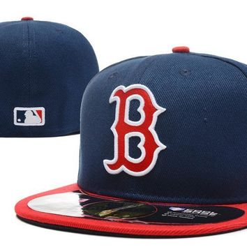 ESBON Boston Red Sox New Era MLB Authentic Collection 59FIFTY Hat Blue-Red