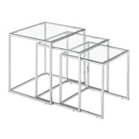 Pasos Nesting Table Clear Glass Chromed Steel