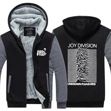 Joy Division Pink Floyd Hoodies Men Unknown Pleasure Post Punk Jacket Rock And Roll Hot Thicken Fleece USAsize Plus size