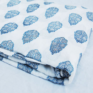 Hand Printed Cotton Fabric by Yards Voile Abstract Floral Indian White Bleached Indigo Blue Wood Stamp Sewing Material Making Shirts/Dress