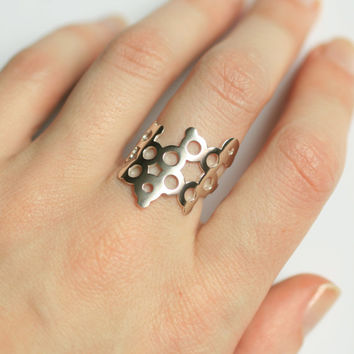 Serotonin Ring - Sterling Silver - Molecule Jewelry