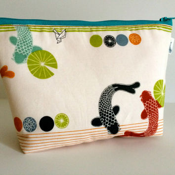 Japanese Koi Fish Cosmetic Bag Makeup Bag Gadget Bag