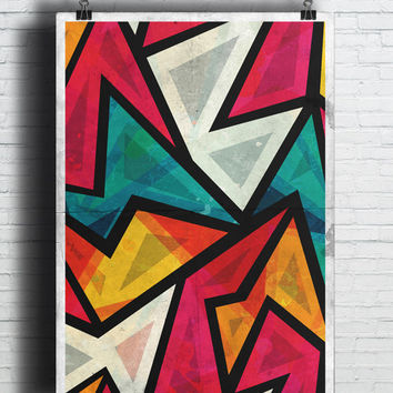Colorful Geometric Art, (Instant Download) , 300 dpi, Popular Digital Art, Decoration, Poster