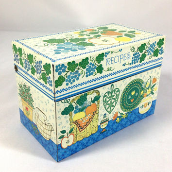 Colorful Folksy Metal Recipe Box Blue & Green Grape Vines Folk Art Cottage Kitchen Design by Hallmark Made in USA 3x5 Index Card File Box