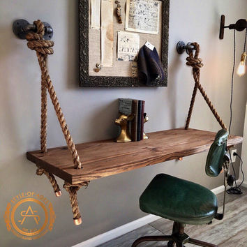Rope & Pipe DESK Suspended Wood - Wall Mounted - Standing Computer Desk - Floating Industrial Hanging Shelf
