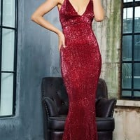 My Moment Red Wine Sequin Sleeveless Spaghetti Strap Plunge V Neck Backless Fishtail Mermaid Maxi Dress