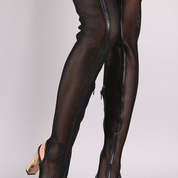 Bamboo Netted Peep Toe Chunky Heeled Over-The-Knee Boots