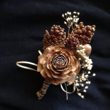 Pine cone boutonniere groom rustic wedding lapel pin