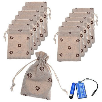 BCP Pack of 12pcs 3x4 Inch Double Drawstring Small Linen Bags Burlap Drawstring Bag/ Gift Bag Pouch for Party / Wedding