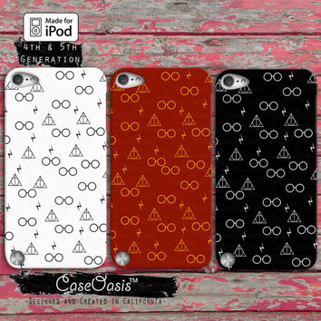Wand Glasses and Lightening Pattern Black Red Gold Cute Case iPod Touch 4th Generation or iPod Touch 5th Generation Rubber or Plastic Case