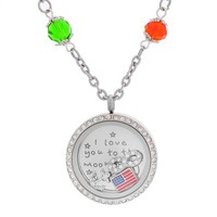 MJartoria I Love You to the Moon and Back Flag CZ Anchor Infinity Symbol Floating Charms Locket Necklace