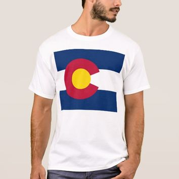 T Shirt with Flag of Colorado State USA
