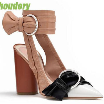 2017 Spring Hot Black Patent Leather Women Slingback Pumps Sexy Pointed Toe Wrinkle Bow Buckles Ladies Chunky Heel Shoes