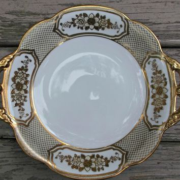 Noritake Vintage Hand Painted Serving Bowl Gold Gilt Flowers Beads