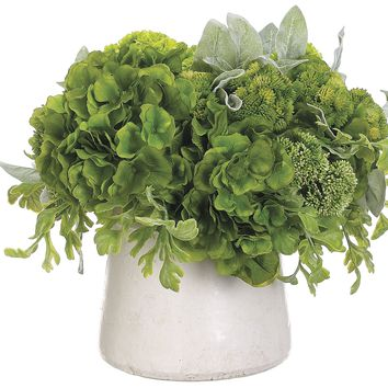 Lifelike Mixed Greenery Large Arrangement in Decorative Container