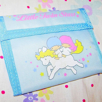 LITTLE TWIN STARS 80s Sanrio Japan angels blue money wallet nylon mint