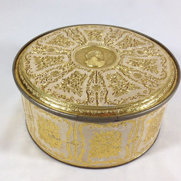 Ornate Gold Embossed Round Storage Tin Vintage Guildcraft Decorative Tin Floral Scroll Design with Greek Bust on Lid Arts and Crafts Storage