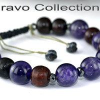 B-302 Aussie Made Adjustable Rosewood & Amethyst Unisex Wristband Men Bracelet.