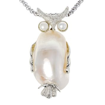 SHIPS FROM USA Natural white shell owl necklace pendant charm W stainless steel chain jewelry birthday gifts for women her wife girlfriend