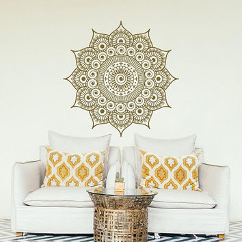 NEW Wall Decal Mandala Large- Gold Mandala Vinyl Wall Decal Sticker- Boho Mandala Wall Art Decal Yoga Studio Bohemian Bedroom Decor #175