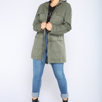 Stacy Hooded Utility Jacket - Olive