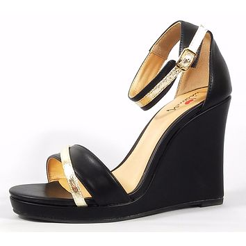 "Luichiny Black Wrapped Wedge Sandal Gold Tone Details 4.25"" Heel"