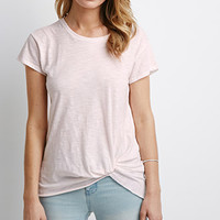 Twisted-Hem Slub Knit Tee