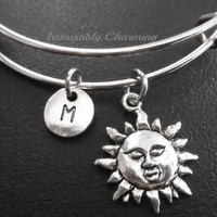 Sale.....Sun charm bracelet, Stainless Steel Expandable Bangle, monogram personalized item No.698