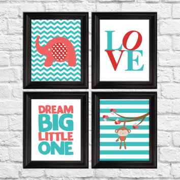 Nursery art prints, dream big little one, love art print, elephant and monkey decor, pink and teal art prints, baby girl nursery art