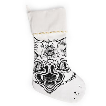 "Anya Volk ""It's Bat"" Black White Christmas Stocking"