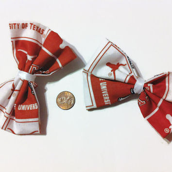 2 Texas Longhorn Bows (orange and white), Hairbows, Sports bows, Women's hair bows, College Football, Longhorns Fabric, Longhorns Bows,