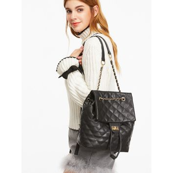 Black PU Quilted Flap Drawstring Backpack