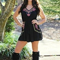 Old Beach Roller Coaster Romper in Black