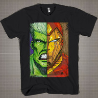 IronMan Vs Hulk  Mens and Women T-Shirt Available Color Black And White