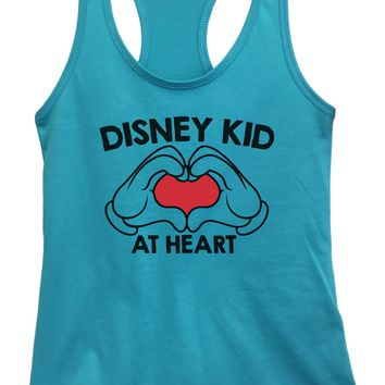 Womens Disney Kid At Heart Grapahic Design Fitted Tank Top